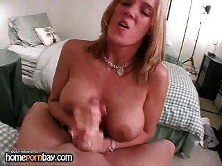 Busty Blonde Wife Jerking Dick 1