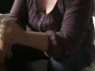 Jeans And Both Hands Stroking Cock