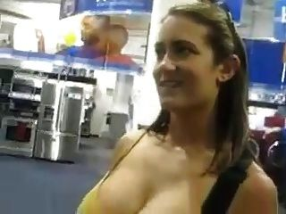 Beautiful Lady With Beautiful Breasts Playing Guitar Hero