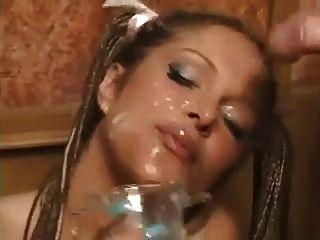 Busty Blonde Drinks A Lot Of Cum