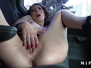 French Mature Fingering In The Car Before Getting Fucked
