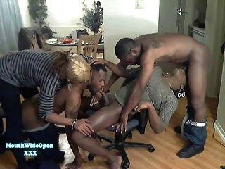 Mouth Wide Open Tranny Party