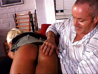 Older Guy Spanking Girl With A Paddle