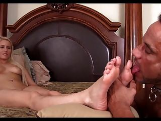 Vanessa Gets Her Sexy Feet Worshiped By Her Man Slave