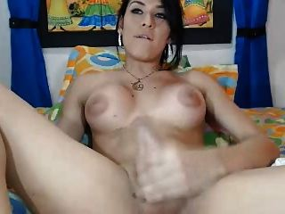 Shemale Jerks Off Herself On Cam, Ugly Tits.