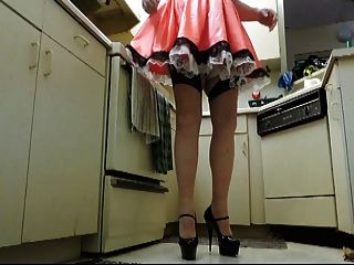 Sissy Ray In Satin Maids Uniform And French Knickers