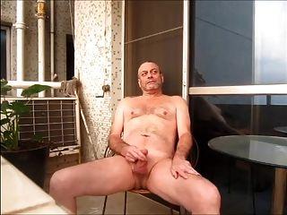 Wanking Nude On Balcony