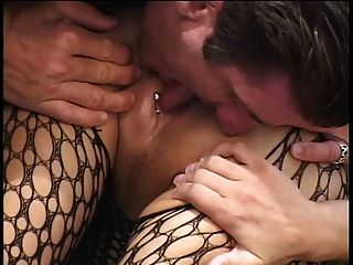 Bent Over Babe In Bodystocking Gets Holes Drilled