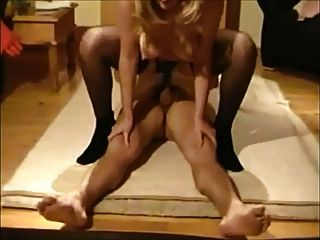 Wife In Stockings With Lover On Real Homemade