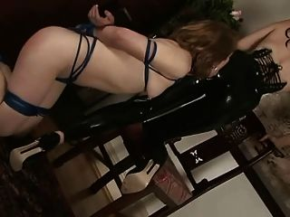 Slave Girl Licks Her Latex Mistress