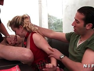 Chubby French Milf Gets Banged In Threesome