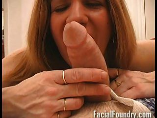 Older Mature Takes A Facial Between Eyes
