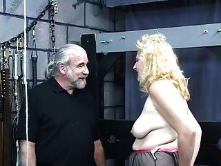 Chubby Blonde Gets Punishment From Old Guy