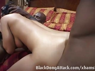 Puerto Rican Slut Takes Two Black Dicks