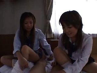 Asian Schoolgirls Sockjob