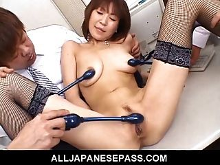 Japanese Cougar Jun Kusanagi Sucking Cock At The Office