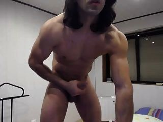 Long Hair Dude Jerking Big Dick