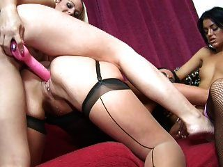 British Lesbian Threesome In Stockings With Toys
