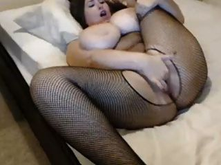 Girl With Very Big Bouncing Tits Fingers Her Pussy