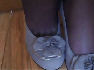 Black Nylon Feet Brown Toenails