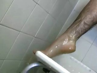 Very Hairy Girl Playing In The Shower