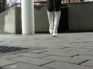 Julie In Leather Legging And Sexy Boots Teasing Ass