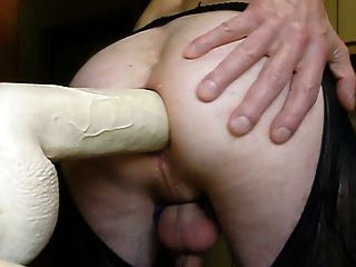 My Hussy In Black Lace Ouvert Pantyhose Fucking His Dildo