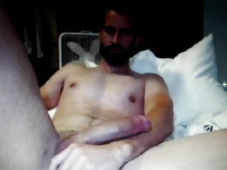 Bearded Dude Shows His Massive Hung Cock On Cam