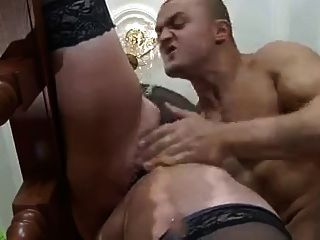 Beauty Plump Mom In Stockings & Muscled Guy