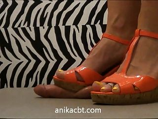 Pink Wedges And Barefeet Stomp And Crush Balls