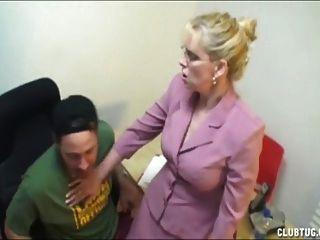 Angry Boss Jerking And Smoking