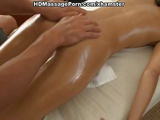 Young Brunette Smeared With Oil To Massage And Fucked Proper