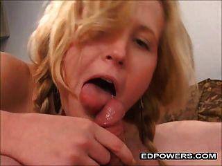 Petite Blonde Riding Ed Powers Cock