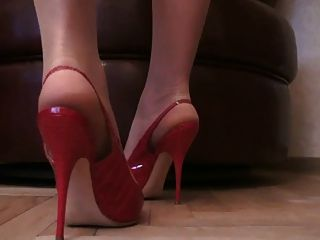 Tan Pantyhose Sexy Stiletto Slingback High Heels Slut Pumps