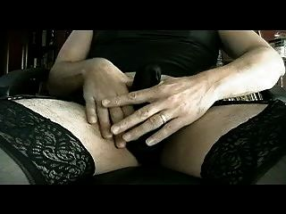 Panty Boy Stroking In All Black Lingerie & Panty - Part Ii
