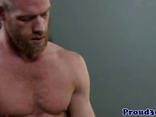 Gay Ginger Hunk With A Cockring Jerking Off