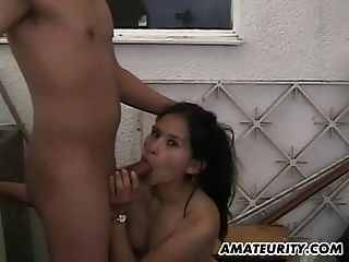 Amateur Couple Fucks On The Balcony With Facial