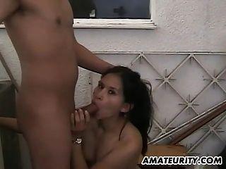 Amateur Couple Fucks On The Balcony With Facial