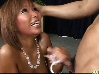 Oiled Up Blond Pervert Riku Hinano Pussy Fondled