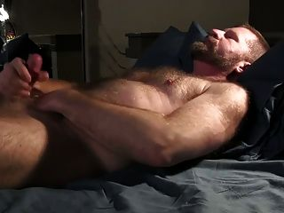 Bear Strokes His Cock