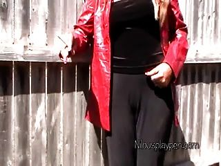 Smoking In Red Leather Jacket