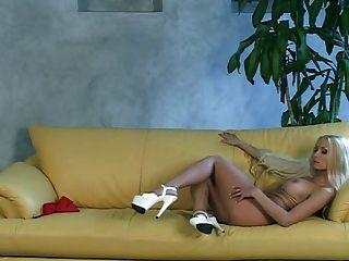 Buxom Blonde Milf Fake Boobs Solo Sofa Show