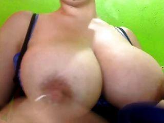Latina Milking Big Swollen Tits