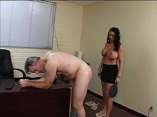 Bent Over His Desk For Her Strapon