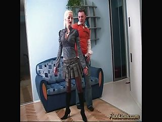 Flexible Blonde Doll Gets Metalic Toy In Her Pussy