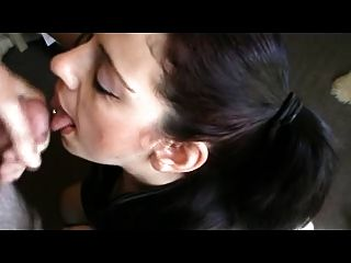 Brunette Gets A Big Facial