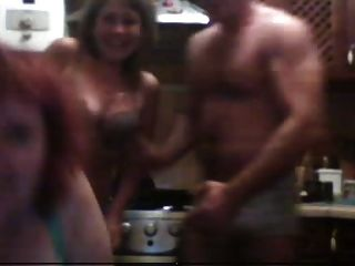 Russian Threesome Party - 2 Matures And 1 Man