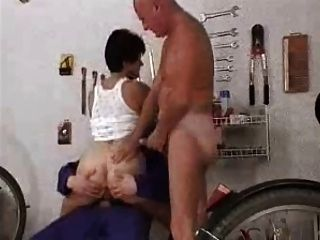 Kinky Granny Fucks Two Mechanics