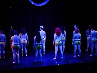 Nine Blonde Burlesque Dancers With Lovely Big Western Butts