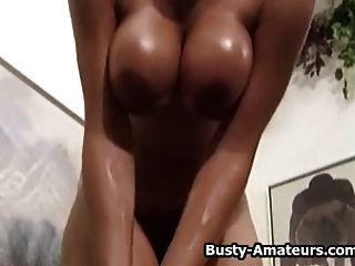 Busty Amateur Gia Striptease And Playing Her Pussy